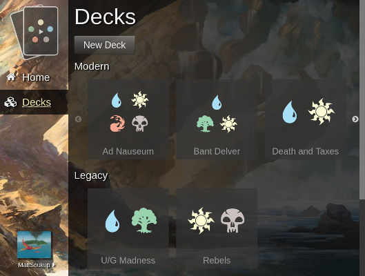 Screenshot of New Decks Screen