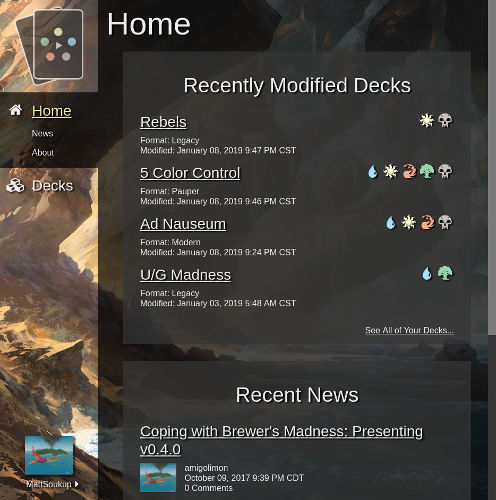 Screenshot of New Home Screen